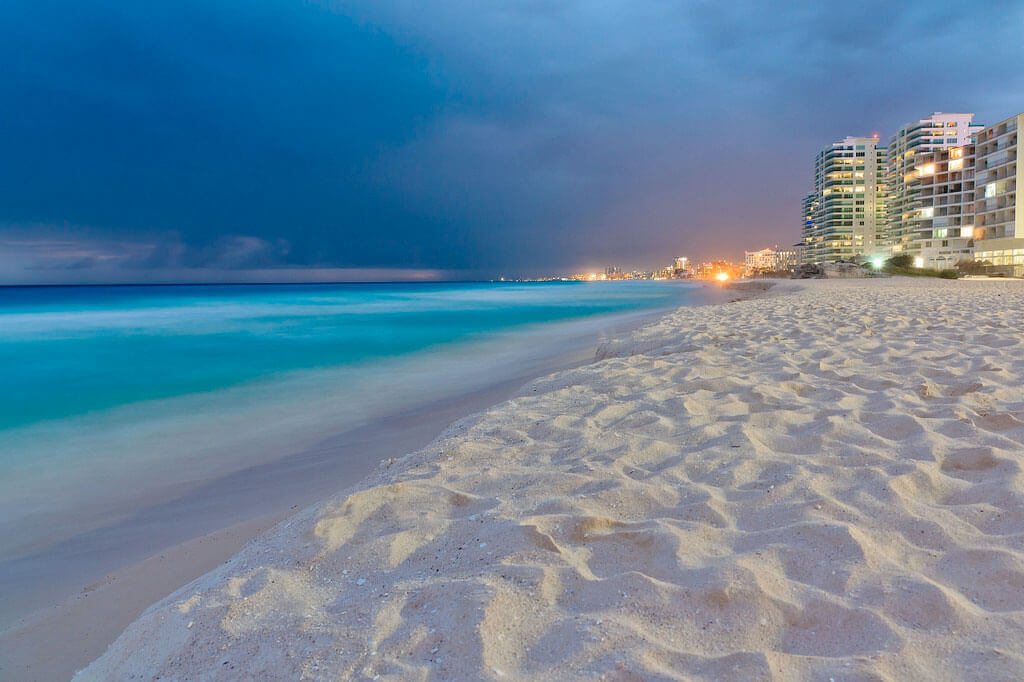 Cancun beach at night Travel to Cancun mexican hotels and resorts